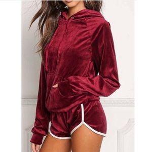 Red Velvet Shorts & Hoodie Set